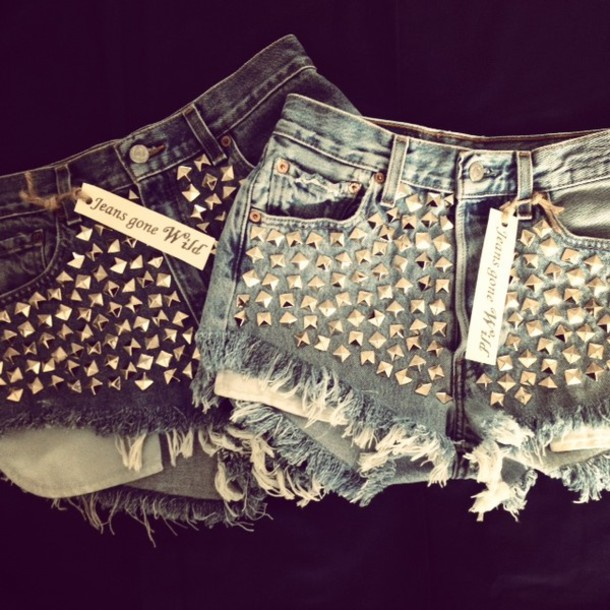 shorts high waisted denim shorts studded denim shorts