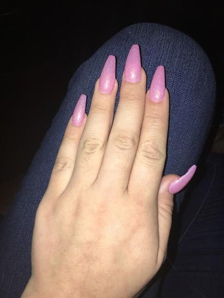 Nail polish: pink, beautiful, sparkle, glitter, nails ...