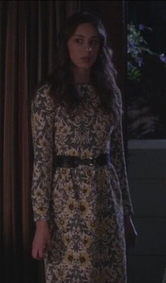 dress troian bellisario floral long sleeves spencer hastings pretty little liars belt