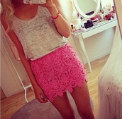 skirt,pink,rose,jupe,dentelle,vintage,shirt