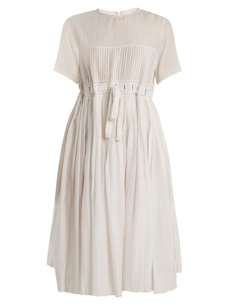 THIERRY COLSON dress midi dress pleated midi cotton white