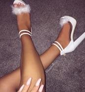 shoes,white,furry heels,platform heels,strappy heels