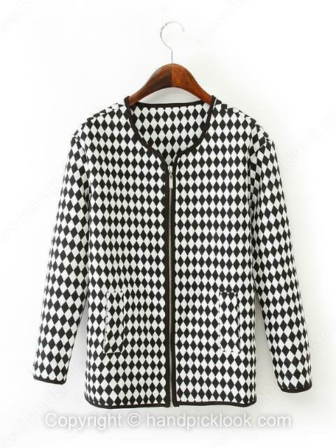 Black and White Collarless Long Sleeve Plaid Coat - HandpickLook.com