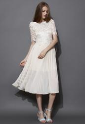 dress,ivory,crochet,pleated,chiffon,midi dress