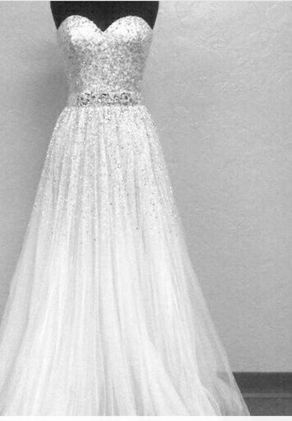Dress tulle wedding dress wedding dress sparkle sparkly for Strapless sparkly wedding dresses