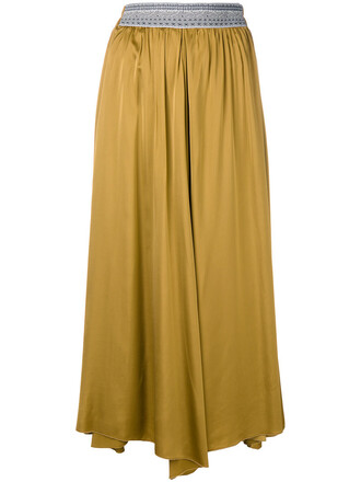 skirt pleated skirt pleated women yellow orange
