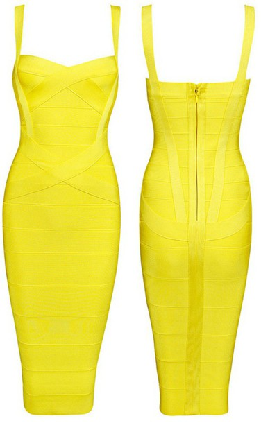 Yellow Midi Bodycon Dress