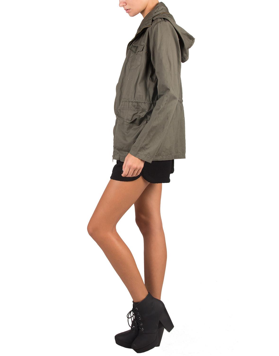 Lightweight hooded military jacket