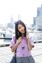 k is for kani,blogger,top,bag,sunglasses,jewels,purple,embroidered,striped skirt