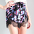 FLORAL LACE SCALLOPED HEM CROSSOVER WRAP SHORTS BLACK - spsboutique