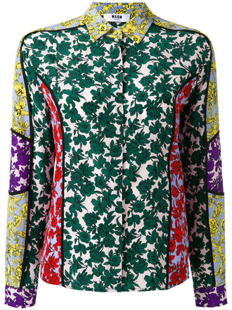 shirt women floral print silk top