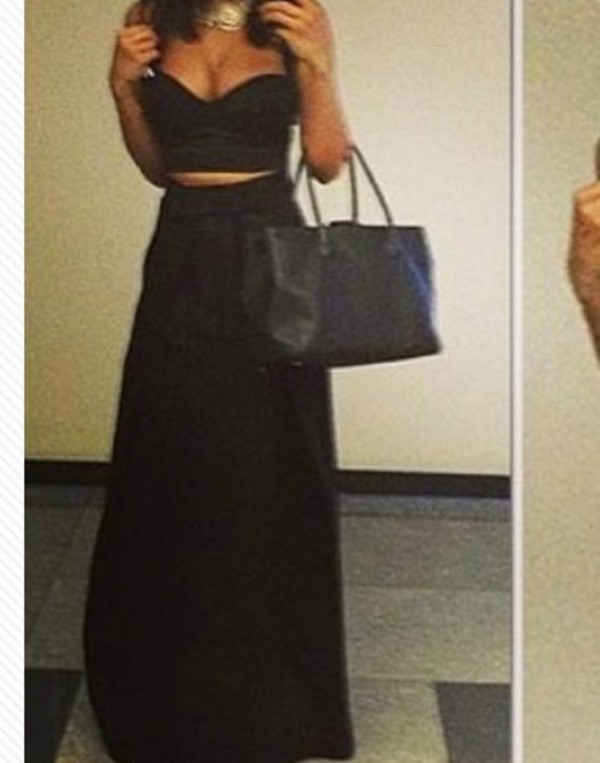 Shirt: skirt, maxi skirt, black maxi skirt, crop tops, high ...