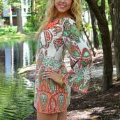 dress,paisley,coral,shift dress,cut out back dress,pretty,trendy,cute,summer,beach,spring