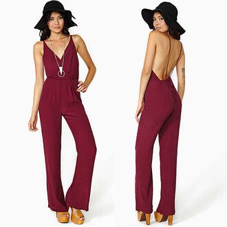 boho chiffon hippie romper ruby red janet deep neck jumpsuit