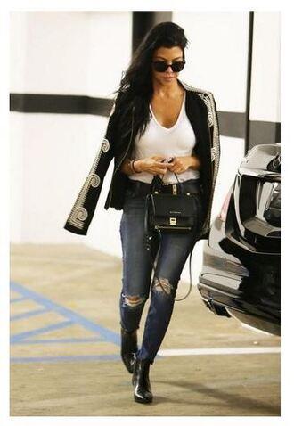 jacket top denim ripped jeans kourtney kardashian jeans