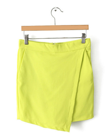 chic skirt blogger fashion blogger fashionable vogue neon skort neon skirt neon yellow neon green mini skirt irregular skir color pop