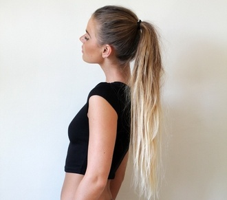 tank top ponytail skirt blonde hair hair hairtreatment
