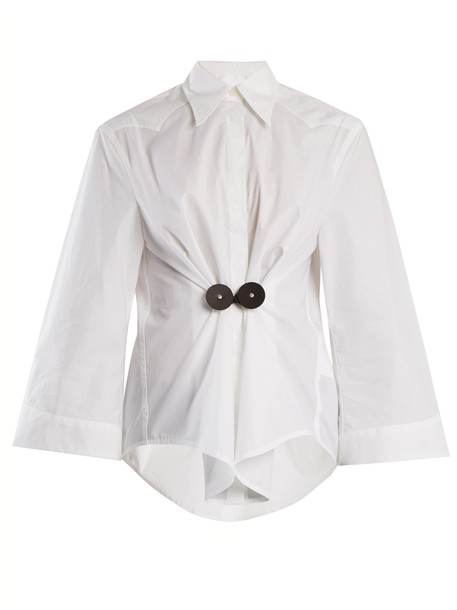 shirt leather cotton white top
