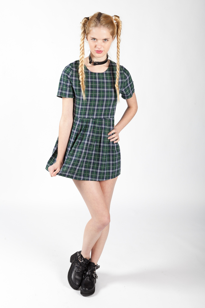 Green Getting Plaid Dress | Stone Fox