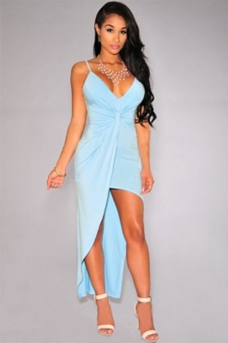 dress knotted dress chic classy girly wots-hot-right-now sky blue pink dress high low dress sexy dress plunge v neck party dress date outfit celebrity style celebrity style for less cocktail dress evening dress