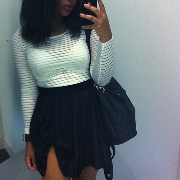 bra see through black skirt long sleeve crop top black and white