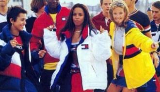 jacket bubblegoose aaliyah white tommy hilfiger 90s style