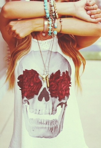 shirt skull t-shirt skull red summer cut off shirt white jewelry floral roses