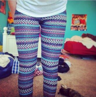 pants aztec leggings aztec tribal pattern triballeggings tights tribal leggings cute colorful tumblr leggings printed leggings design designed leggings print