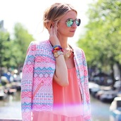 jacket,neon,aztec,blazer,boucle jacket,boucle,aztec jacket,neon jacket,opullence,top,coral,blonde hair,pink,turquoise,blue,pastel,gold,print,mirrored sunglasses,fluor,fluo,bright,sunglasses