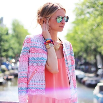 jacket neon aztec blazer boucle jacket boucle aztec jacket neon jacket opullence top coral blonde hair pink turquoise blue pastel gold print mirrored sunglasses fluor fluo bright sunglasses