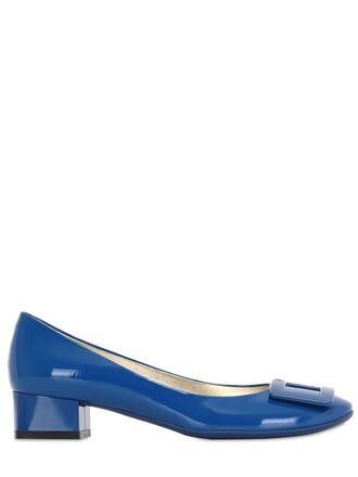 pumps leather blue shoes