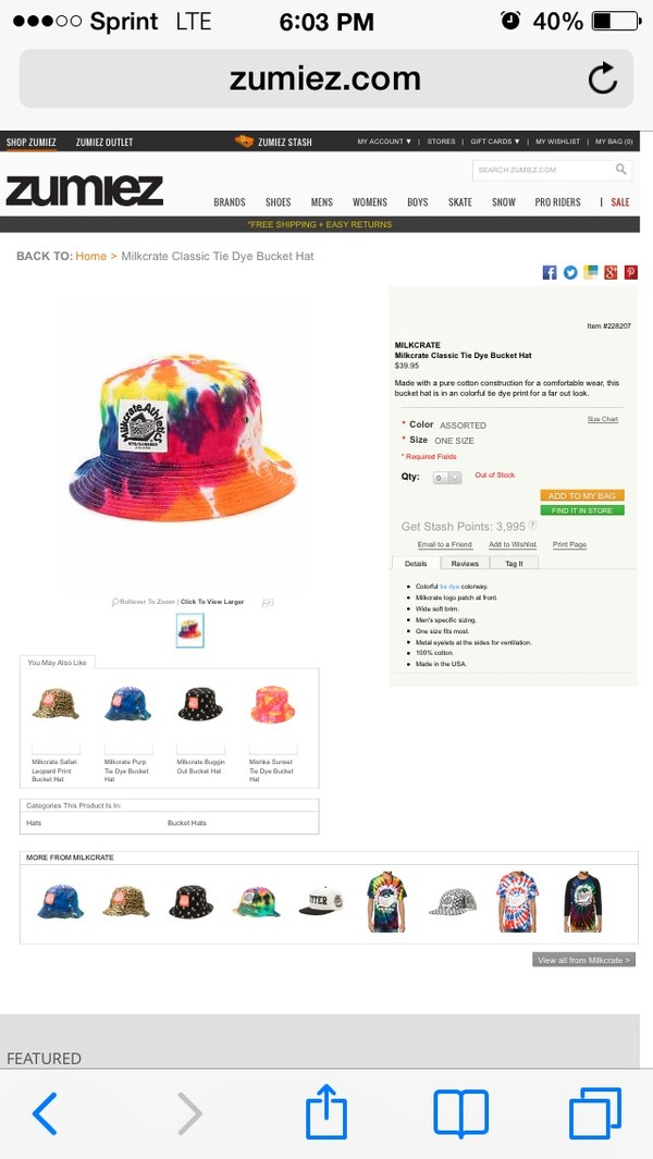 hat bucket hat it's out of stock! where else can i get it!