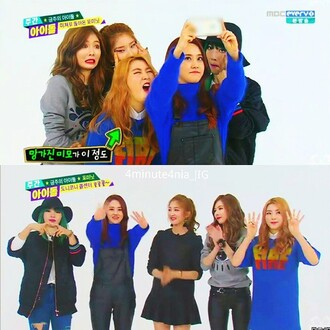 sweater overalls blue sweater fuzzy sweater kpop black overall 4minute