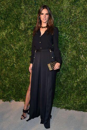 skirt maxi skirt alessandra ambrosio black blouse bag clutch