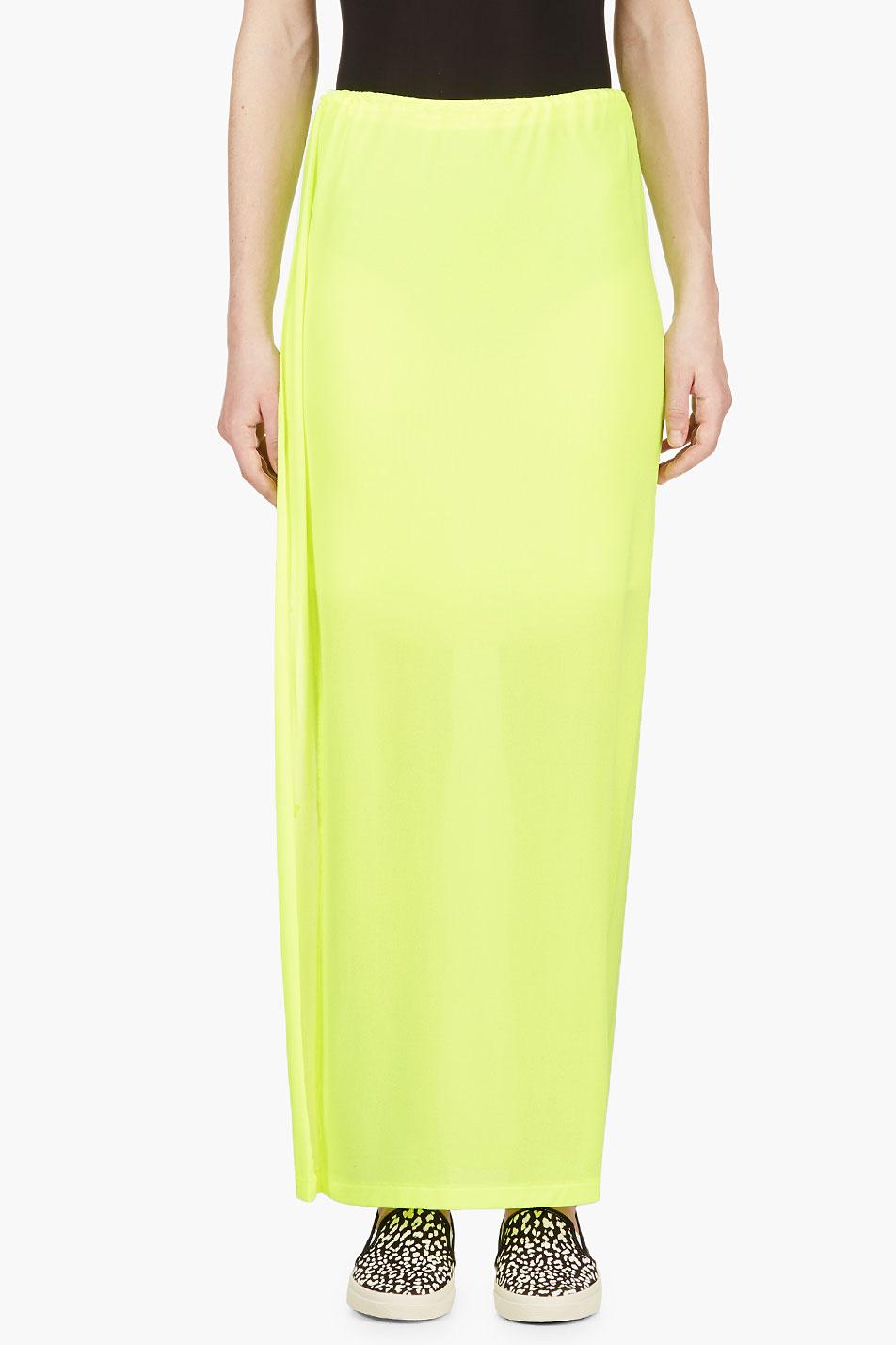 yohji yamamoto yellow neon maxi skirt