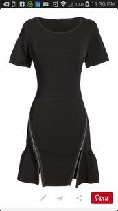 black dress,zipper dress,little black dress,unique dress,zip