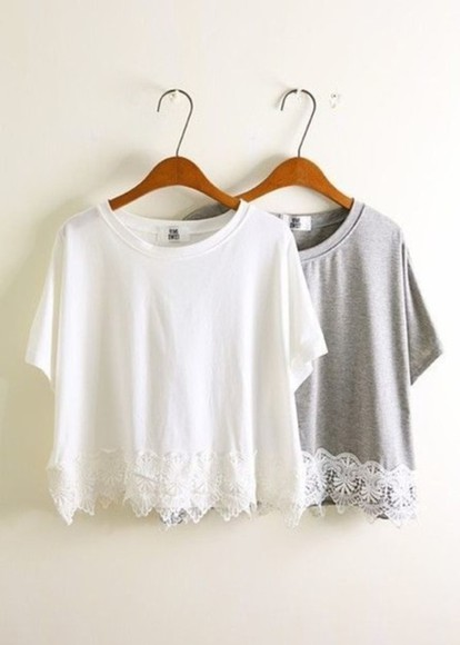 shirt grey shirt lace white lace top grey t-shirt white lace shirt lace, white, crop top crop tops loose shirt