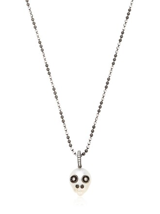skull pearl necklace black jewels