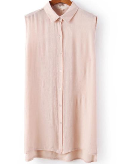 Pink Lapel Sleeveless Dipped Hem Blouse - Sheinside.com