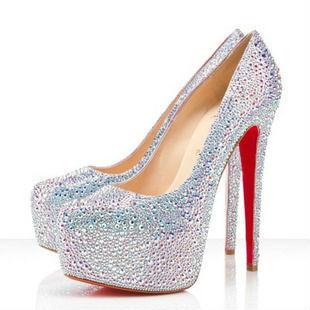 d2b28feb5a1 Free shipping Women s sweet crystal platform pumps ultra high heels ...