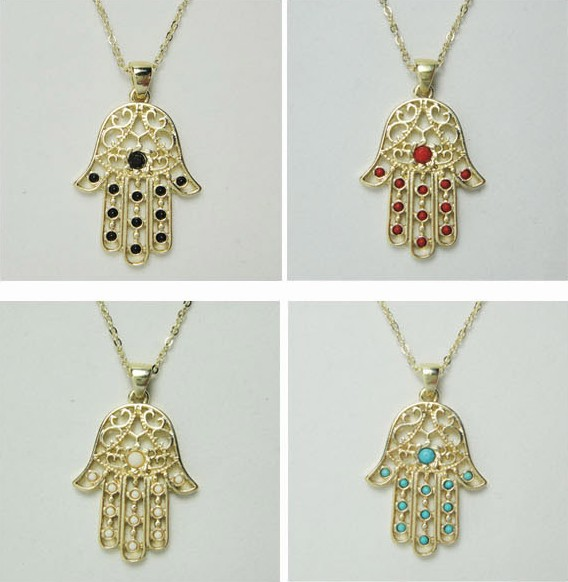 New jewelry design arrivals unique hamsa hand necklace with multi colors stones paved fashion jewelry -in Pendant Necklaces from Jewelry on Aliexpress.com