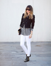 a house in the hills,jeans,blouse,jacket,shoes,bag,sunglasses,jewels,susanna boots,ankle boots,black boots,black jacket,cropped jacket,shirt,checkered shirt,checkered,white jeans,embellished,buckle boots