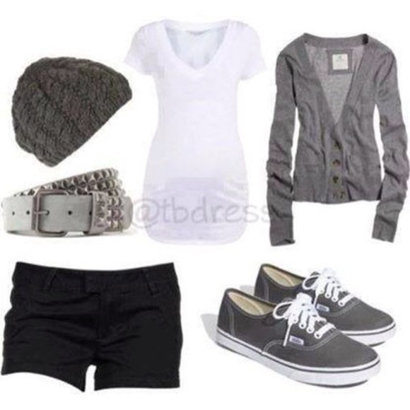 grey jacket hat shoes t-shirt belt