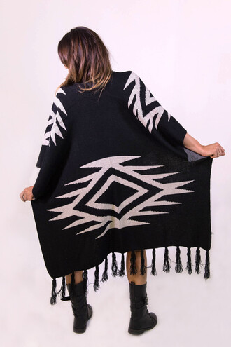 jacket poncho fashion fringes black and white festival trendy freevibrationz
