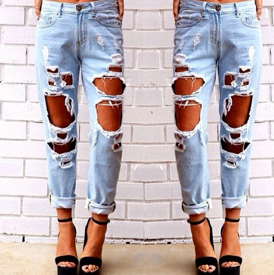 Shop women plus size vintage holes Ripped jeans blue white 2015 ...