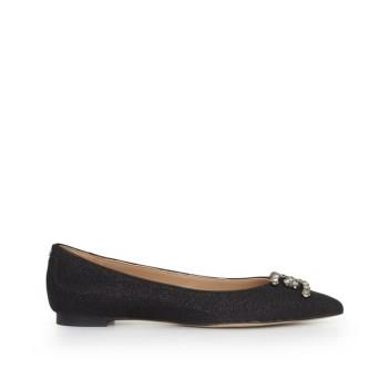 Sam Edelman Sally Pointed Toe Flat Black Glam Mesh