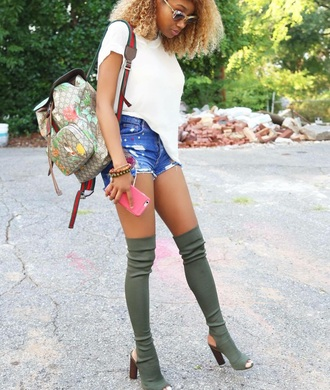 shoes heels boots long thigh high boots backpack olive green knee high peep toe suede boots knee high boots green bag