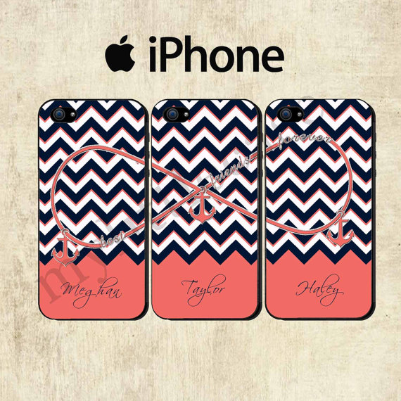 buy popular 9de1c 40ea5 Best Friends Forever iPhone 5C Case - Personalized iPhone 5S Case - iPhone  4 Case - Infinity Anchor iPhone 5 Case - THREE CASE SET