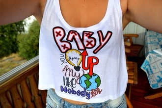 tank top belly top one direction colourful white world dress