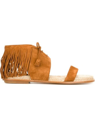 women sandals flat sandals leather suede brown shoes